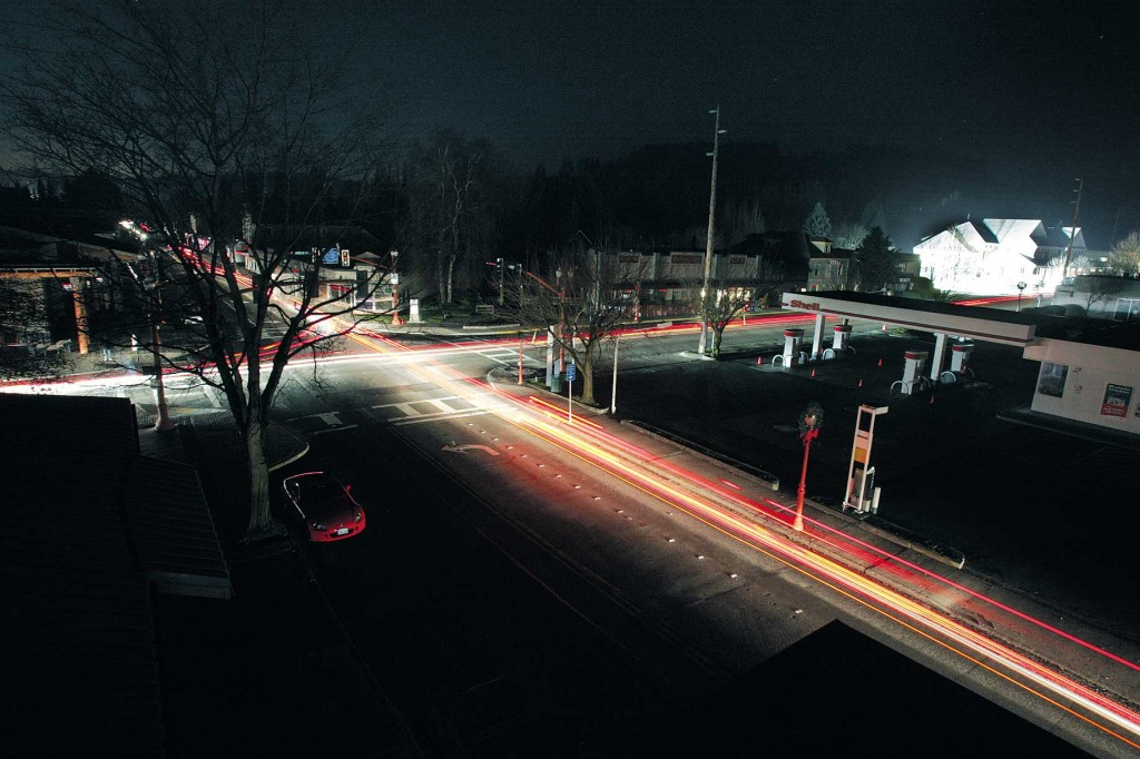 Dowtown Issaquah during a blackout. Photo by Greg Farrar.